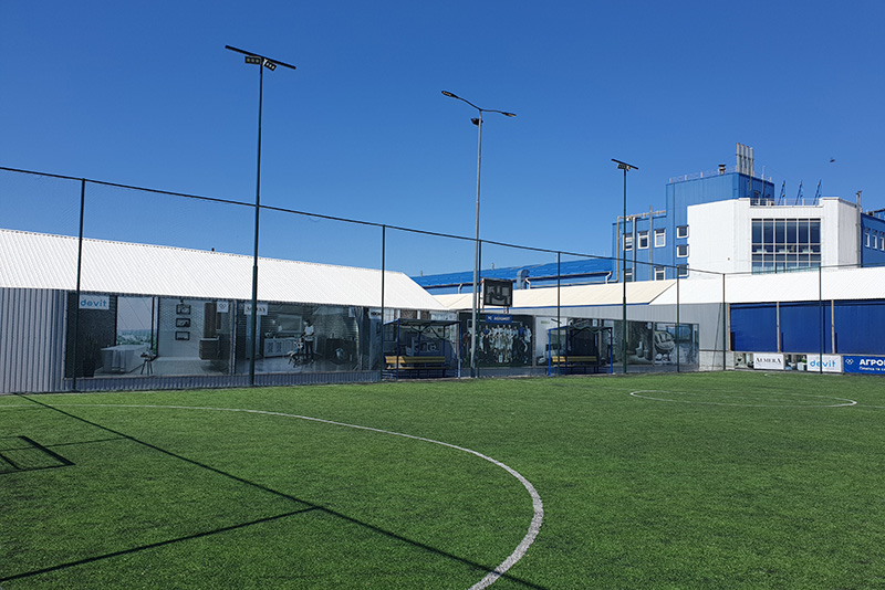 Строительство футбольного поля под ключ на территории компании Агромат в Киеве