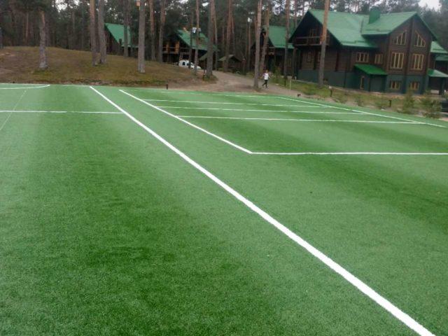 Ход работ строительства спортивной площадки на примере: Врезка разметки поля
