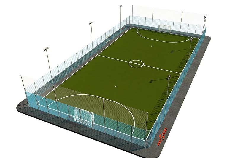 Типовая спортивная площадка 0001. Мини-футбольная площадка 22х42