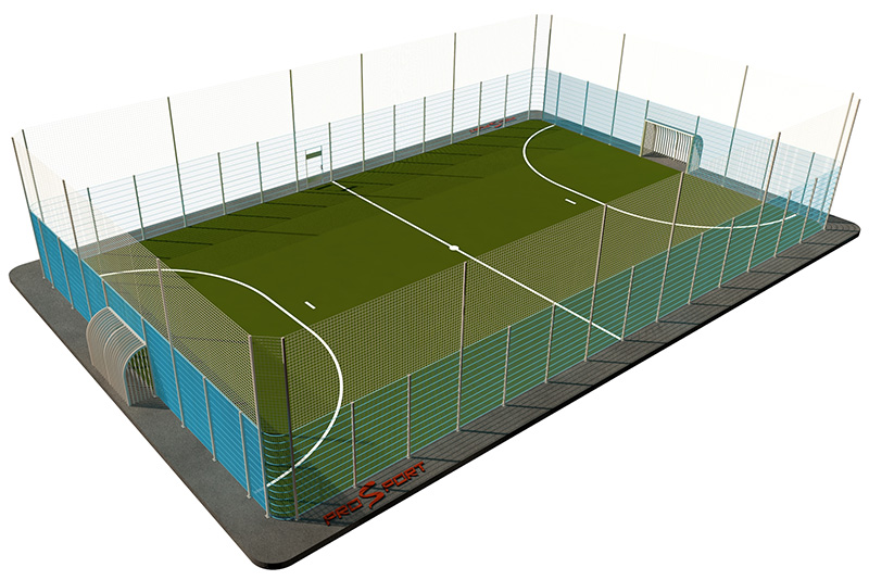 Типовая спортивная площадка 0002. Мини-футбольная площадка 20х40