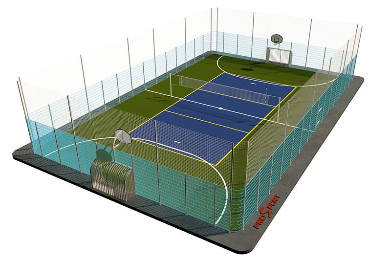 Типовая спортивная площадка 0004. Универсальная площадка 18х30