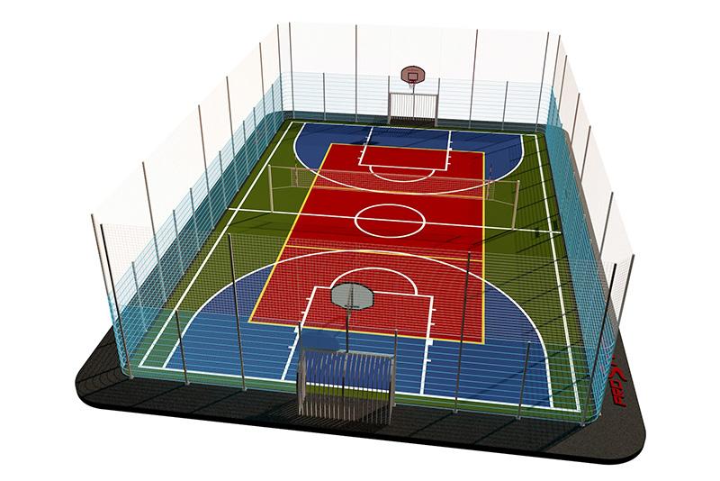 Типовая спортивная площадка 0005. Универсальная площадка 24х16