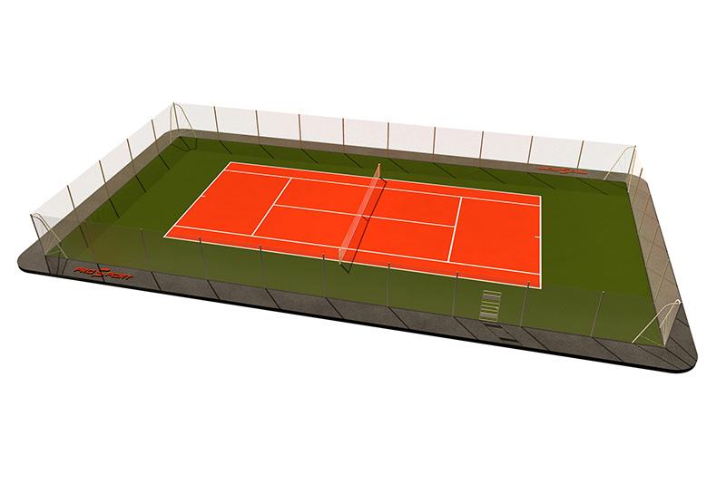 Типовая спортплощадка 0006. Теннисная площадка 24х16 Красная