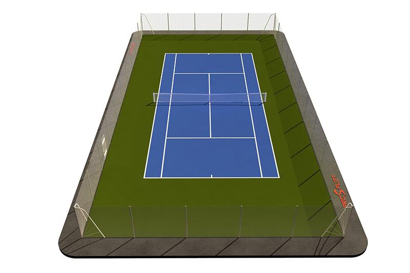 Типовая спортплощадка 0006. Теннисная площадка 24х16 Синяя