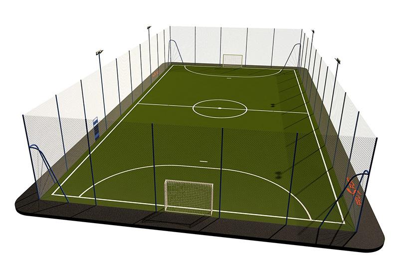 Типовая спортивная площадка 0007. Мини-футбольная площадка 20х40
