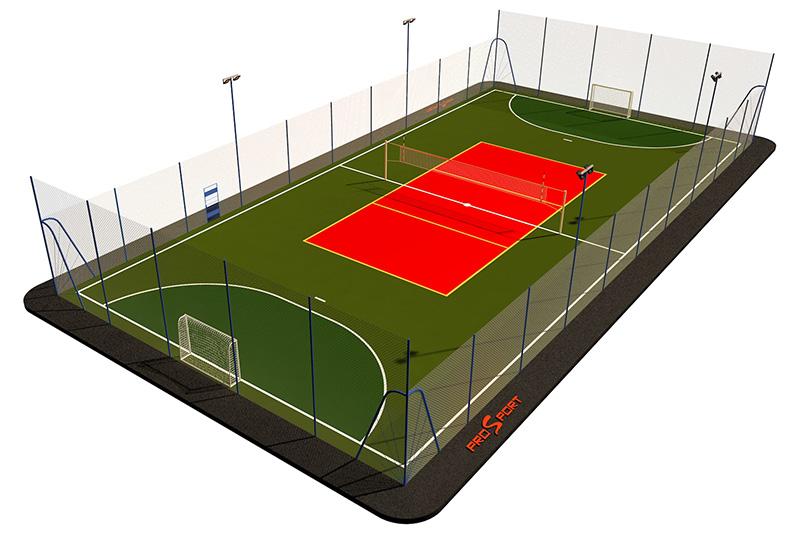Типовая спортивная площадка 0008. Универсальная площадка 18х30
