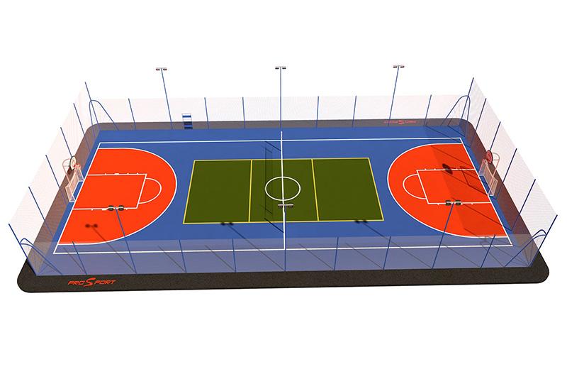 Типовая спортивная площадка 0009. Универсальная площадка 18х30