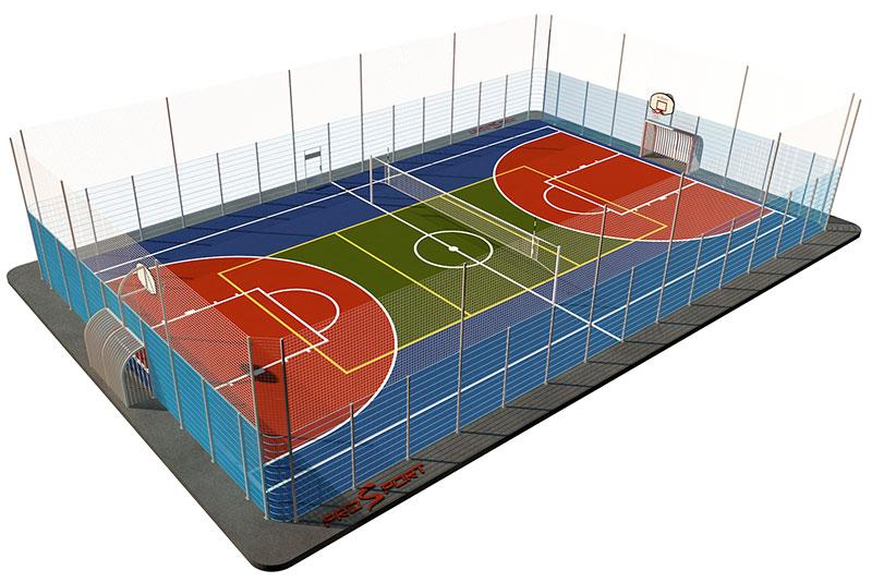 Типовая спортивная площадка 0004. Универсальная площадка 18м х 30м