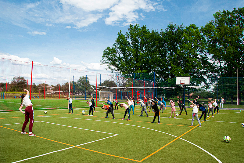 Монтаж спортивной площадки для баскетбола село Худяки